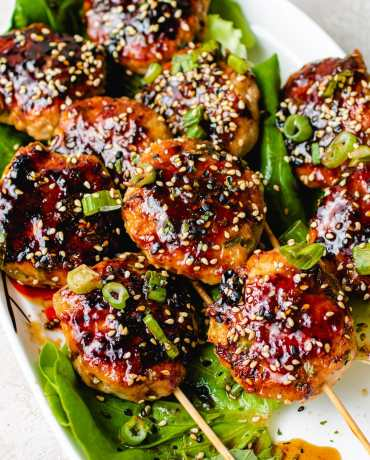 Japanese grilled meatball recipe on skewers
