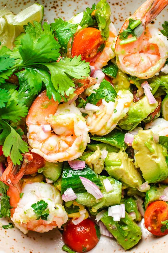 A detail close shot of the shrimp salad recipe