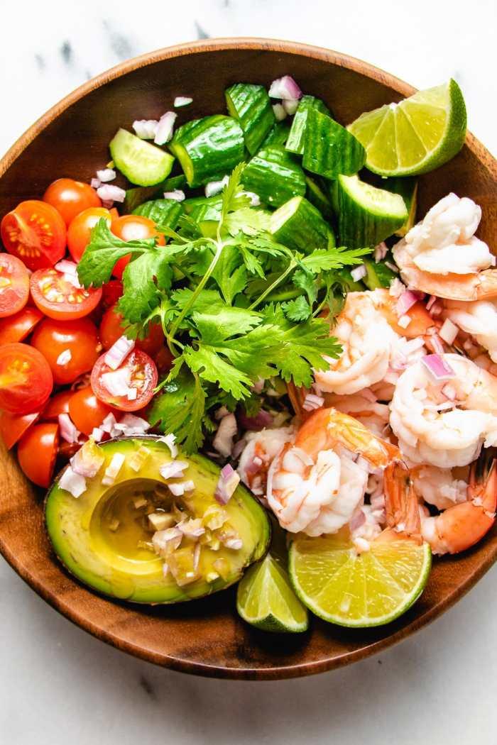 A photo of the keto salad shrimp avocado recipe