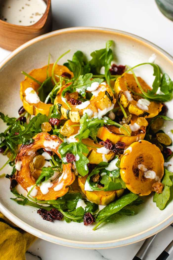 Another plate shows baked squash delicata recipe
