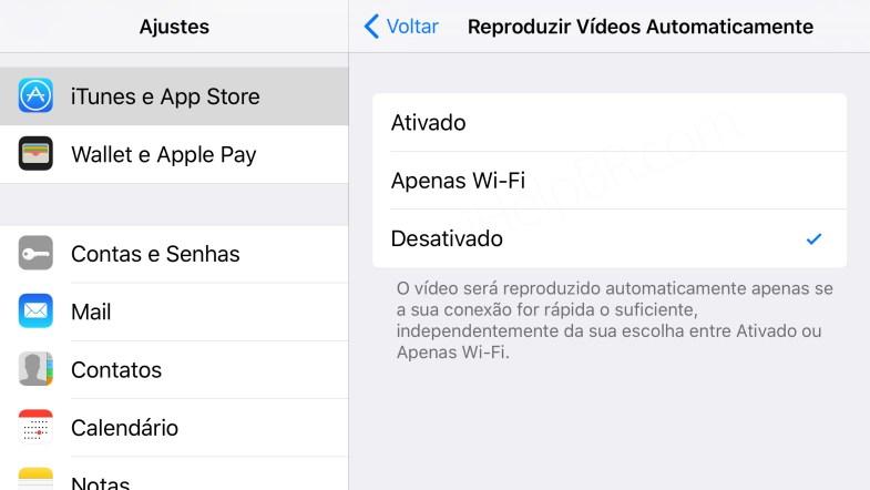 Ajustes de reprodução automática de videos na App Store do iOS 11.