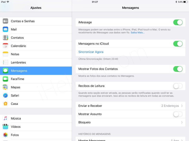Backup do iMessage no iCloud com o iOS 11.