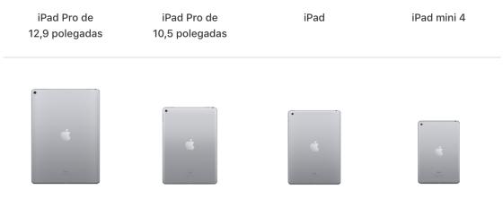 Toda a linha de iPads disponíveis em 2017.