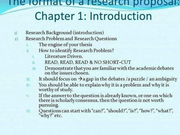 Chapter 1 of a dissertation proposal contain some mention of all