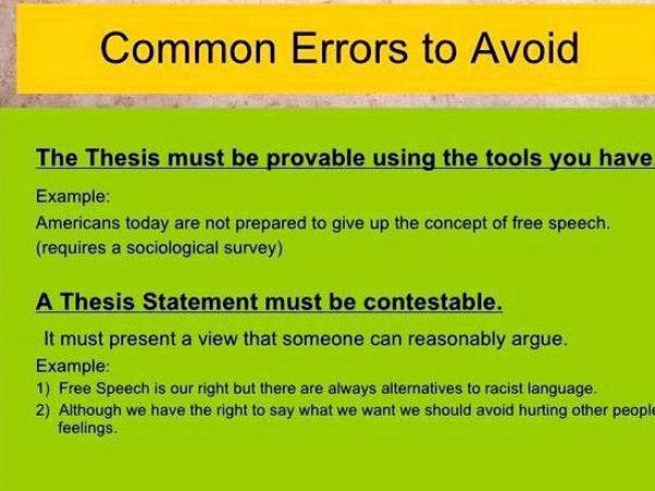Errors to avoid when writing a thesis The idea that theirs needs