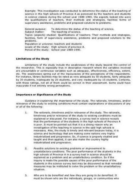 purpose of the study example thesis