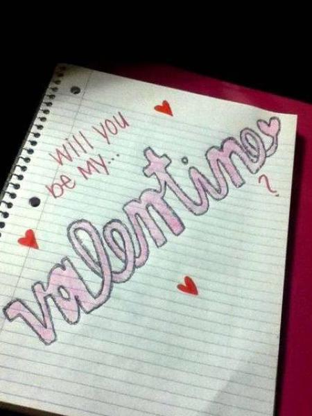 Will you be my boyfriend swirly writing sketch He held