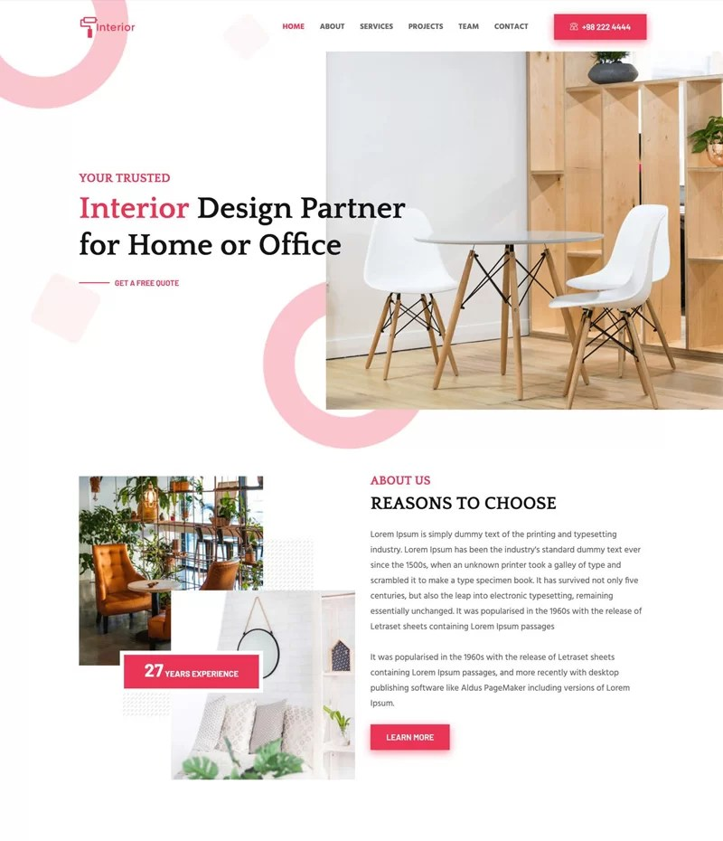 Free Static Interior  Website