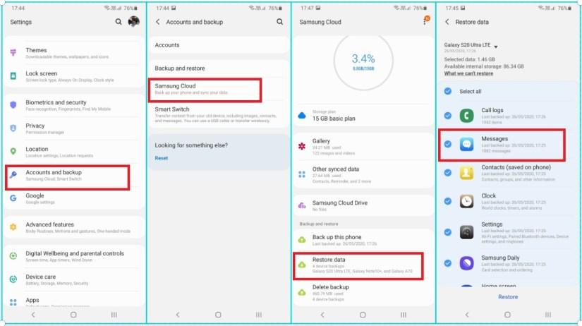 Retrieve deleted texts on samsung via samsung cloud
