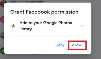 Grant Facebook permission popup