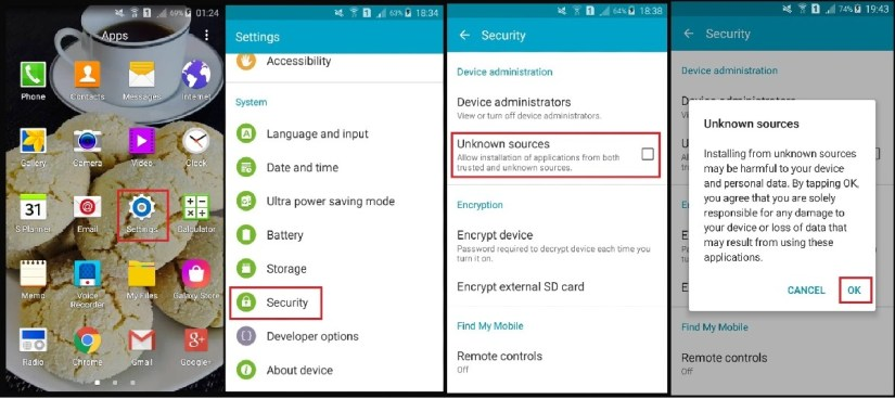 Enable install apps from unknown sources android