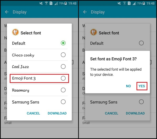 Install iphone emoji font android