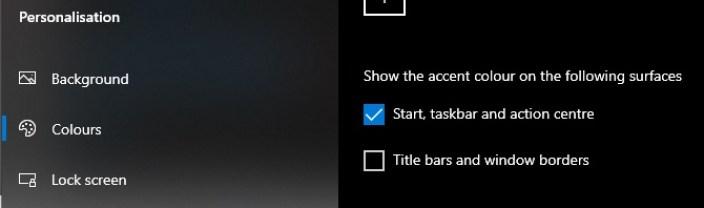 Windows 10 colours settings