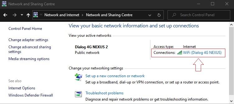 View wifi status network sharing centre windows