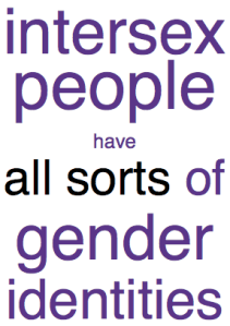 Intersex people have all sorts of gender identities