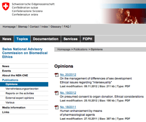 Swiss National Advisory Commission on Biomedical Ethics report on Intersexuality