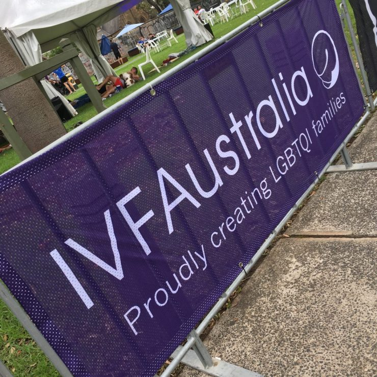 "IVF Australia at Sydney Mardi Gras Fair Day, 2017. According to a statement supplied, IVF Australia ""may have to rethink"" but discussion with intersex-led organisations has not taken place."
