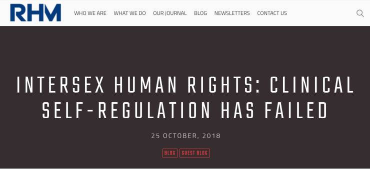 "Reproductive Health Matters Journal: ""Intersex human rights: clinical self-regulation has failed"""