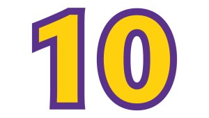 ten - the number 10 in gold, with a purple outline