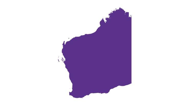 the shape of WA, in purple