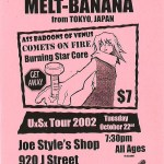 Melt-Banana-UxSx_Tour_2002-Joe_Styles_Shop Melt-Banana - Tour Dates + Posters