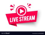 live stream label modern web banner with play icon vector 30490688