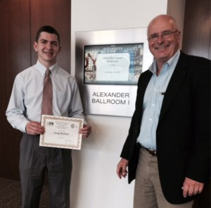 Greg Mochen, Chesterton High School (with John Krull, Director of The Pulliam School of Journalism at Franklin College), was awarded second place in the National Column Writers high school contest when the group met in Indianapolis for its annual conference.