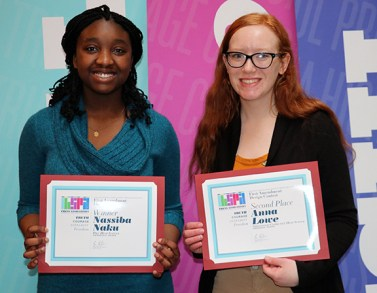 (left to right) First Amendment design contest finalists Nasiba Naku, Pike HS and Anna Lowe, Greenwood Community HS. Photo by Leslie Velez, Pike HS
