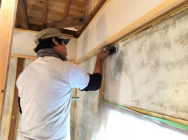 土壁+カチオンシーラー+石膏左官塗り(空き家改修 猪名川町)