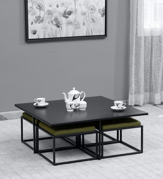 liam 4 seater coffee table set in black finish