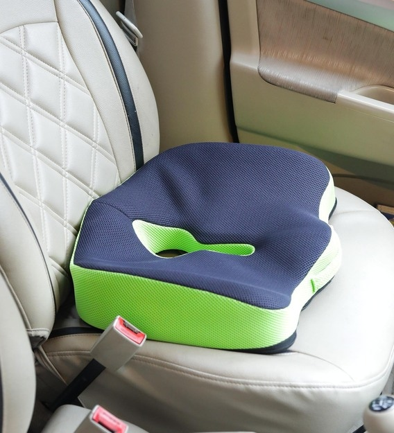advance orthopaedic coccyx seat cushion pillow with memory foam for sciatica tailbone and back pain relief green 17 l x 16 b x 4 5 h