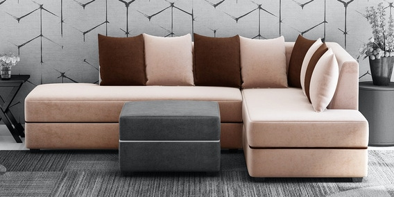 apollo lhs sectional sofa in light brown colour