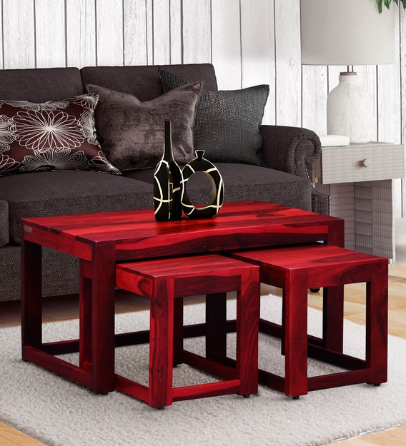 avian solid wood nesting coffee table set in spicy red finish