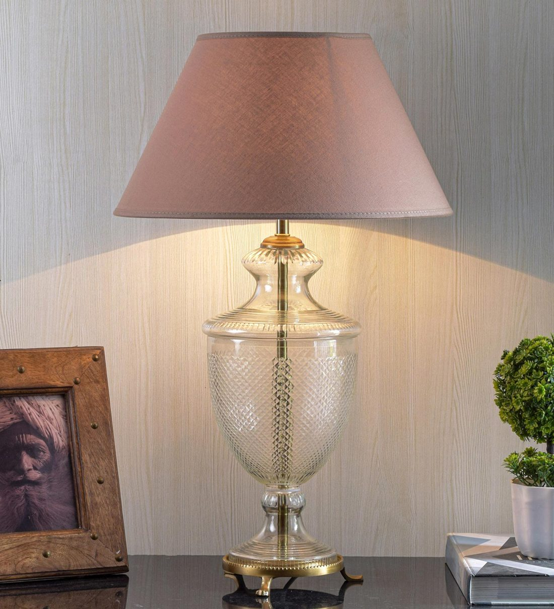 Buy Beige Cotton Shade Table Lamp With Clear Glass Base By Kapoor E Illuminations Online Modern And Contemporary Table Lamps Table Lamps Lamps Lighting Pepperfry Product
