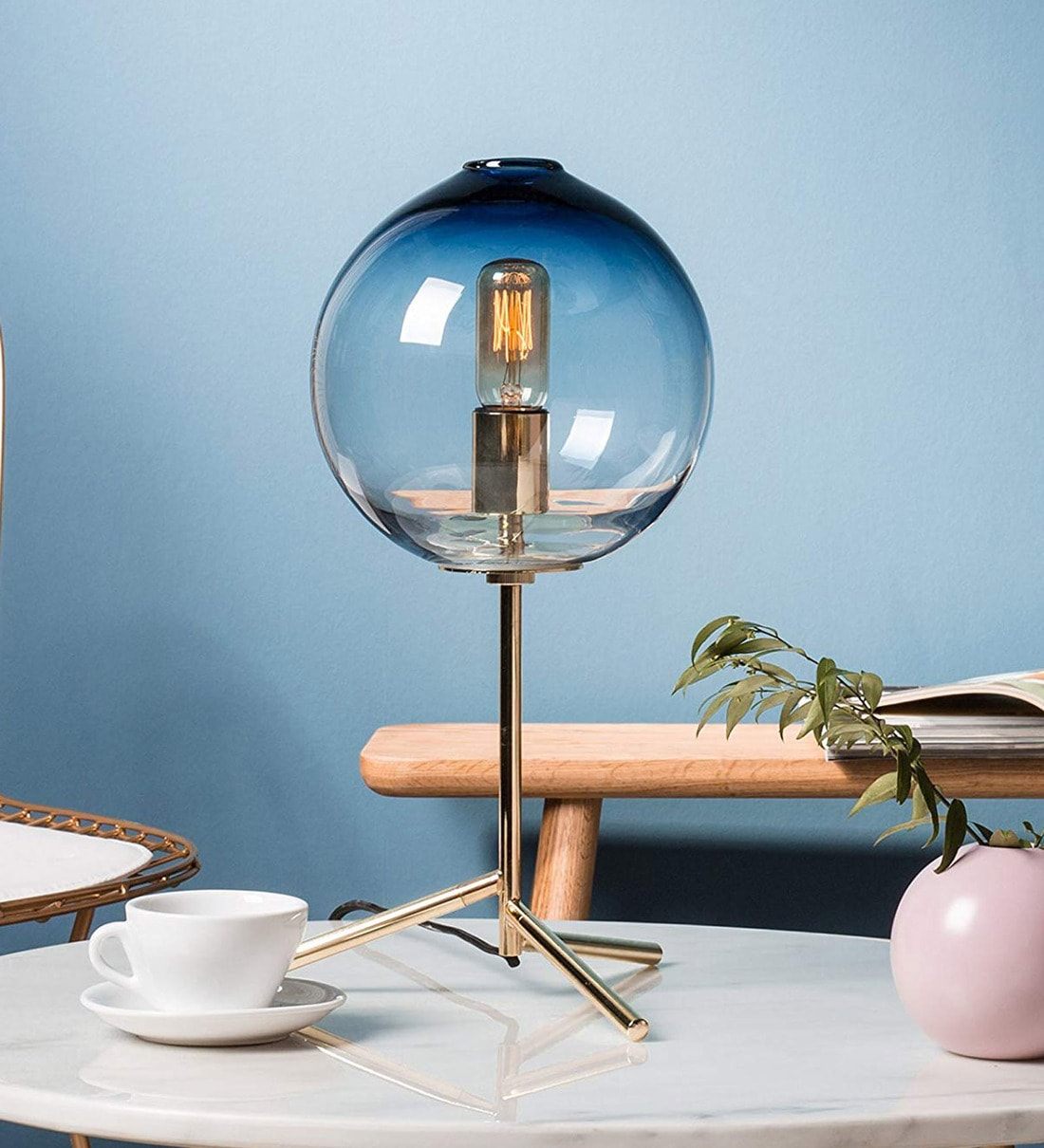 Buy Blue Glass Shade Table Lamp With Gold Base By Casamotion Online Eclectic Table Lamps Table Lamps Lamps Lighting Pepperfry Product