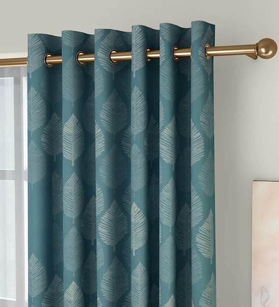blue semisheer polycotton 5 feet eyelet window curtain set of 2