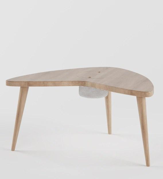 boomerang storage play table in wood oak