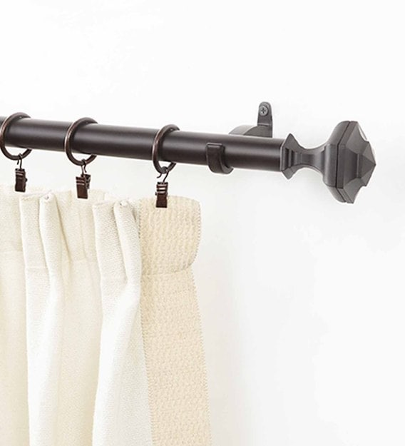 bronze iron curtain rod 36 66 inches with bracket