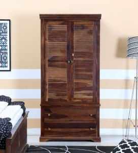 Buy Carleson Solid Wood Wardrobe in Provincial Teak Finish by     Carleson Solid Wood Wardrobe in Provincial Teak Finish by Amberville