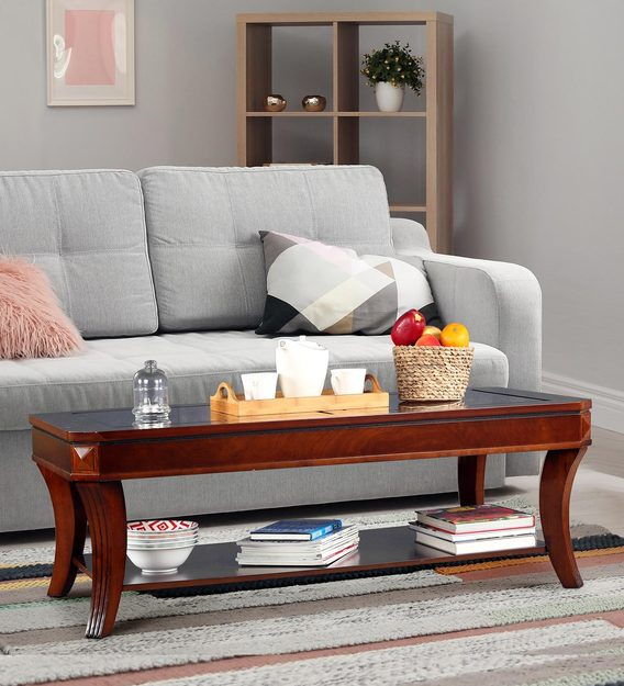 daffny glass top centre table in brown finish