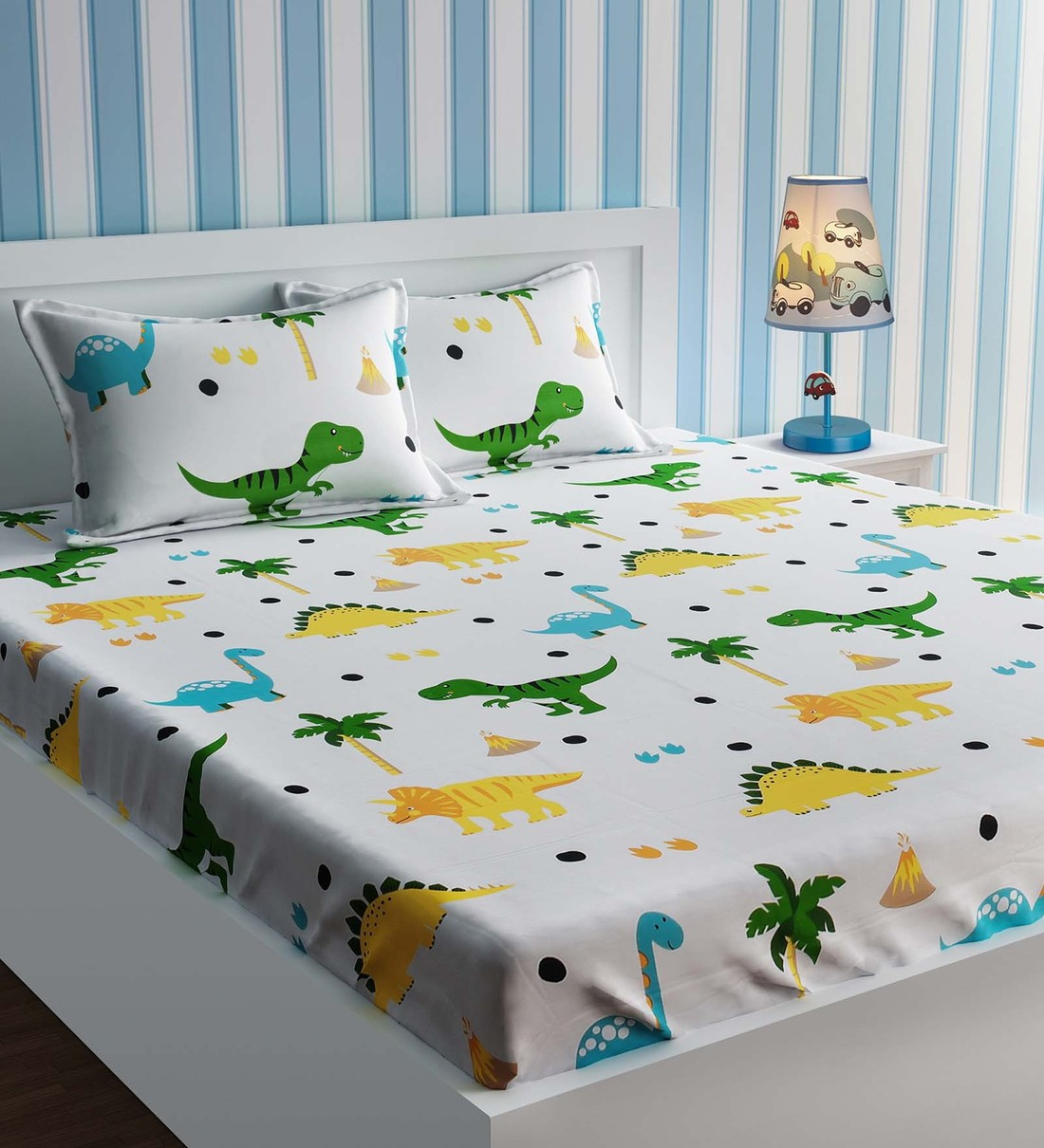 dinosaur single size bedsheet with 2 pillow cover in multicolour
