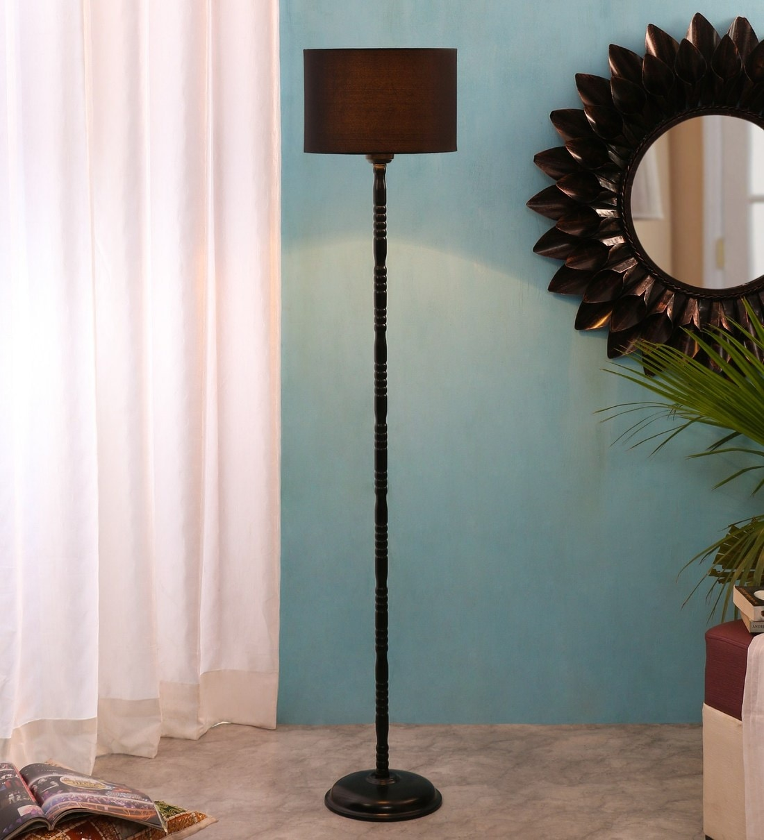 Buy Drum Designer Stick Wrought Iron Black Cotton Shade Floor Lamp With Black Base By New Era Online Mid Century Floor Lamps Floor Lamps Lamps Lighting Pepperfry Product