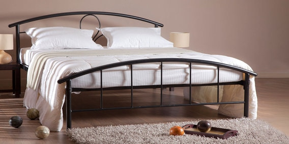 Buy Elegant Metal Queen Size Bed In Black Finish By