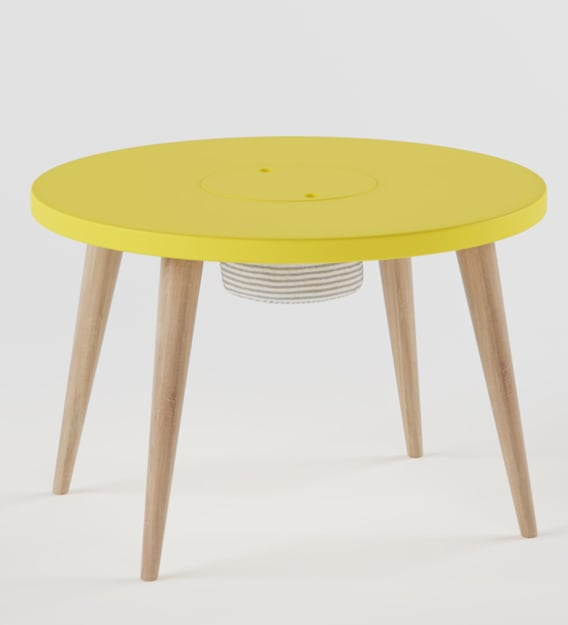 frisbee storage play table in marigold yellow