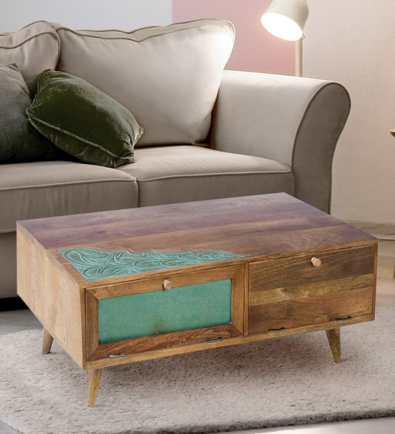 grapy green wooden coffee table large in dark teak vintage green finish