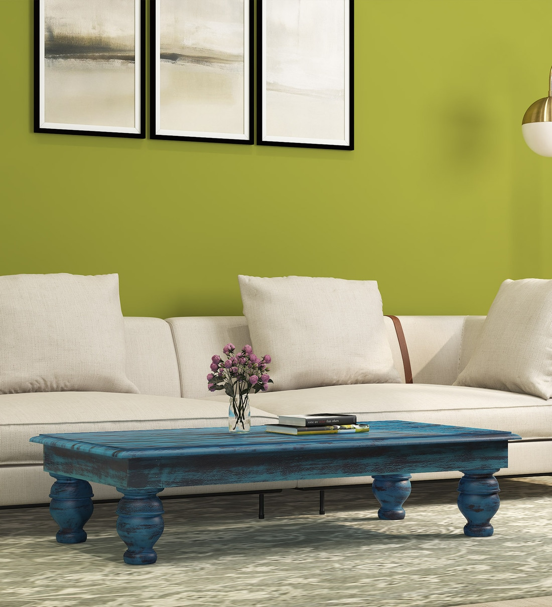 houston solid wood coffee table in distress blue finish