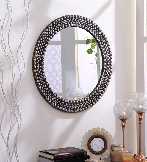 Buy Studded Round Wall Mirror By Hosley Online Eclectic