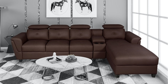 impero lhs l shape sofa with adjustable headrest in dark brown colour