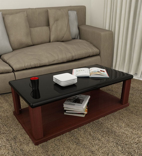isla coffee table with black shelf and red finish
