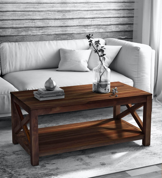 Buy Kryss Solid Wood Coffee Table In Provincial Teak Finish By Woodsworth Online Transitional Rectangular Coffee Tables Tables Furniture Pepperfry Product